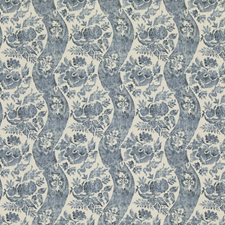 Indigo/Ivory Print Drapery and Upholstery Fabric by G P & J Baker