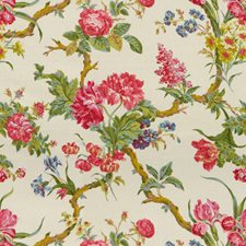 Pinks On Cream Botanical Drapery and Upholstery Fabric by Brunschwig & Fils