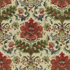Red On Ecru Botanical Drapery and Upholstery Fabric by Brunschwig & Fils