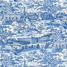 Blue Toile Drapery and Upholstery Fabric by Brunschwig & Fils