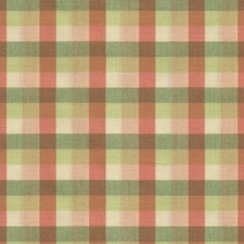 Oral/Green Check Drapery and Upholstery Fabric by Brunschwig & Fils