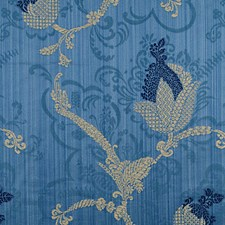 Navy/Linen On Blue Drapery and Upholstery Fabric by Scalamandre