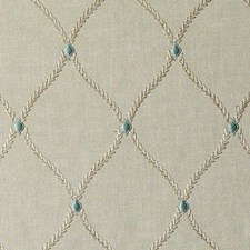 Natural/Aqua Diamond Drapery and Upholstery Fabric by Duralee