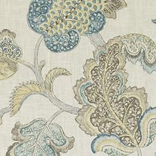 Natural/Aqua Jacobean Drapery and Upholstery Fabric by Duralee