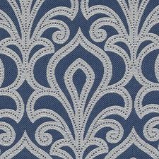 Blue Fleur De Lis Drapery and Upholstery Fabric by Duralee