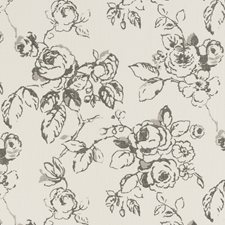 Charcoal Floral Large Drapery and Upholstery Fabric by Clarke & Clarke