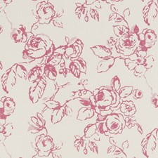 Raspberry Floral Large Drapery and Upholstery Fabric by Clarke & Clarke