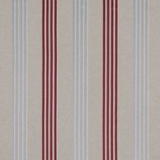 Raspberry/Duckegg Stripes Drapery and Upholstery Fabric by Clarke & Clarke