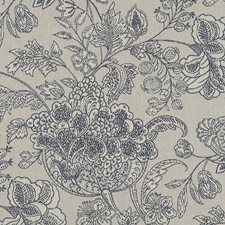 Denim Floral Large Drapery and Upholstery Fabric by Clarke & Clarke