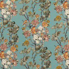 Teal Print Drapery and Upholstery Fabric by Mulberry Home