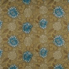 Teal/Gold Botanical Drapery and Upholstery Fabric by Mulberry Home
