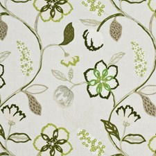 Leaf/Ivory Embroidery Drapery and Upholstery Fabric by Mulberry Home