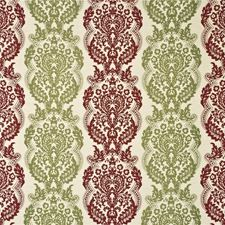Ruby/Olive Silk Drapery and Upholstery Fabric by Mulberry Home