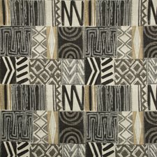 Grey/Black/Ivory Ethnic Drapery and Upholstery Fabric by Kravet