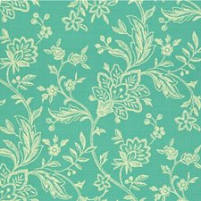 Turquoise/White Botanical Drapery and Upholstery Fabric by Kravet