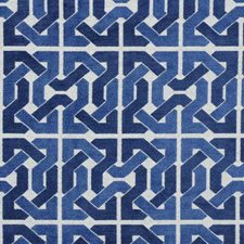 Blue/White Geometric Drapery and Upholstery Fabric by Groundworks