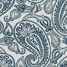 Teal Paisley Drapery and Upholstery Fabric by Groundworks