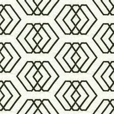 Ivory/Onyx Geometric Drapery and Upholstery Fabric by Groundworks