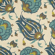 Teal/Aqua Ethnic Drapery and Upholstery Fabric by Groundworks