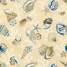 Beige/Blue/White Novelty Drapery and Upholstery Fabric by Kravet