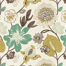 White/Green/Multi Botanical Drapery and Upholstery Fabric by Kravet
