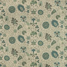 Neutral/Teal/Light Blue Jacobeans Drapery and Upholstery Fabric by Kravet