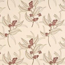 Red/Cream Embroidery Drapery and Upholstery Fabric by Baker Lifestyle