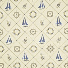 Cream/Blue Drapery and Upholstery Fabric by Ralph Lauren