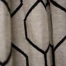 Black/Creme/Beige Contemporary Drapery and Upholstery Fabric by JF