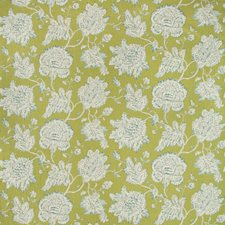 Chartreuse/White/Teal Botanical Drapery and Upholstery Fabric by Kravet