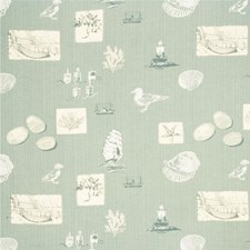 Pale Aqua Animal Drapery and Upholstery Fabric by Parkertex
