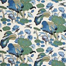 Aqua/Teal Print Drapery and Upholstery Fabric by G P & J Baker