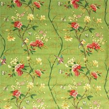 Apple Green/Brick Botanical Drapery and Upholstery Fabric by G P & J Baker