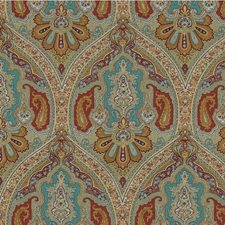 Gold/Burgundy/Teal Paisley Drapery and Upholstery Fabric by Kravet
