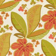 White/Orange/Green Botanical Drapery and Upholstery Fabric by Kravet