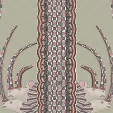Olive/Pink Print Wallcovering by Cole & Son