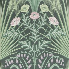 Sage On Charcoal Print Wallcovering by Cole & Son Wallpaper