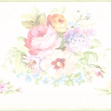 414B61890 Vicky White Victorian Floral Border by Brewster