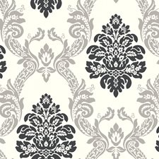 Cream/Gray/Black Damask Wallcovering by York