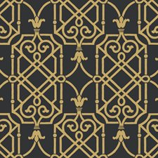 Onyx/Gleaming Gold Trellis Wallcovering by York
