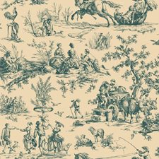 Blue/Tan Toile Wallcovering by York