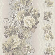 Silver/Medium Grey/Dark Grey Floral Medium Wallcovering by York