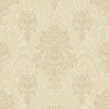 Beige/Metallic Pale Green/Gold Damask Wallcovering by York