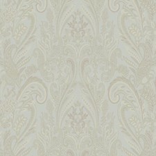Aqua/White/Gold Paisley Wallcovering by York