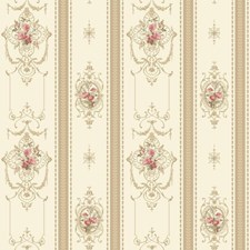 Off White/Tan/Coral Floral Wallcovering by York