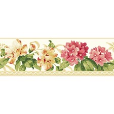 Bright White/Watermelon/Papaya Floral Medium Wallcovering by York