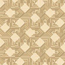 Cream/White/Gold Brass Geometrics Wallcovering by York