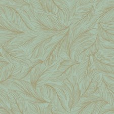 Turquoise/Metallic Gold Animals Wallcovering by York