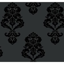 Matte Black/Shiny Black Damask Wallcovering by York