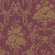 Crimson Red/Charcoal Brown/Gilt Speckled Gold Damask Wallcovering by York
